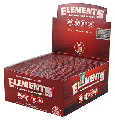 20x Elements Red King Size Slim Hanf Papers from Hemp