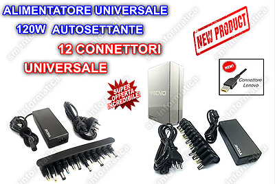 Alimentatore Tecno Caricabatterie Notebook Asus Acer Lenovo Hp 120W Universale