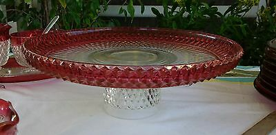 Eapg Vtg Exquisite Indiana Glass, Diamond Point, Pedestal Cake Stand Ruby Flash