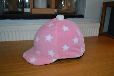 Plain Pink & White Star Fleece Skull Cap Riding Hat Helmet Cover With Pompom