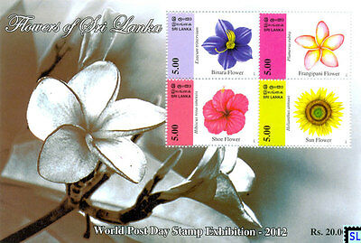 Sri Lanka Stamps 2012, Flowers, Shoe, Sun, Frangipani, Binara, MS
