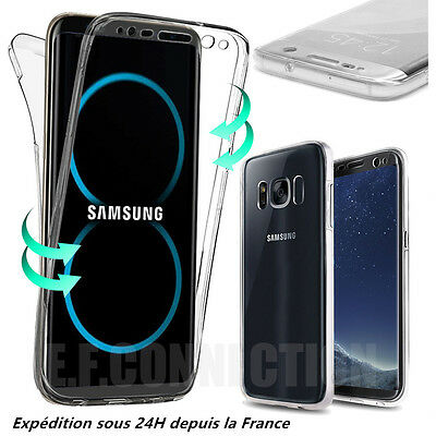 Coque Etui Housse 360° Clear FULL TPU Gel Silicone Tactile Samsung S7 S8 PLUS S9