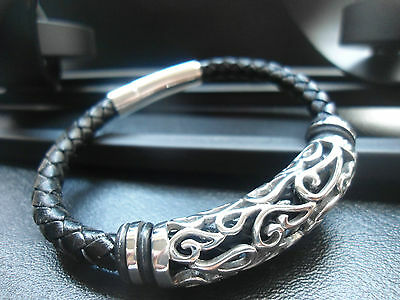 black real leather braided rope bracelet 20cm long  men designer jewellery gift