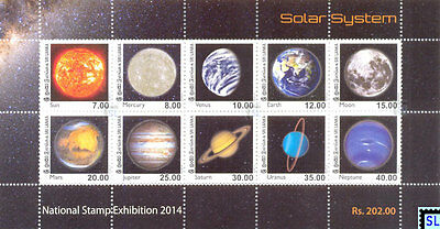Sri Lanka Stamps 2014, Solar System, Sun, Earth, Moon, Exhibition, MS