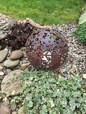 Garden Rusty Metal Sphere Ball Ornament Structure Decoration,Candle Holder 40cm