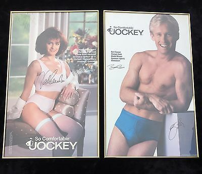 Fun Autographed and Framed Nadia Comaneci and Bart Connors Jockey Posters