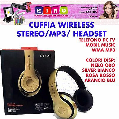 Cuffia Stereo Wireless Mp3 - Tv - Pc - Smartphone - Tablet - Notebook