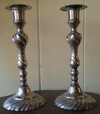 "Good Pair Russian Silver Plated Candlesticks Treasures of Russia Moscow 10"" h"