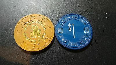 Norwegian Cruise Line- 2 Piece Chip Lot- 50 cent and $1 casino Chips- VG Conditi