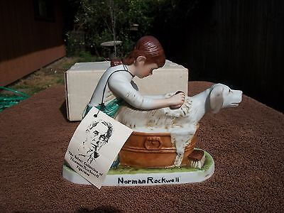 NORMAN ROCKWELL Girl Washing Her Dog Ceramic Figurine 1980 w/ Hang Tag & Box