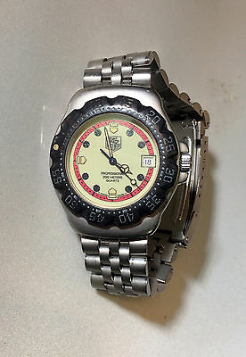 TAG HEUER F1 Luminescent Dial 200M Dive Watch ~ 371.513 with Stainless Bracelet