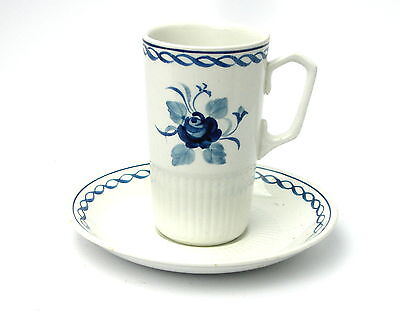 Adams BALTIC Tall Coffee Cup and Saucer, Blue and White Floral