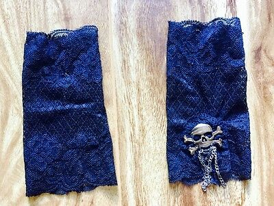 Ladies Black lace cuffs with silver skull & chains