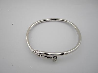 925 Silver Rhodium Plated Nail & Screw Cubic Zirconia Solid Bangle Ref: 0125