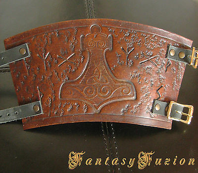 Medieval Knight Armor Runes Celtic Thor Hammer Design Leather SINGLE Cuff Bracer