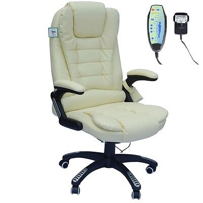 Executive Cream Leather Reclining Massage Office Computer Swivel Chair