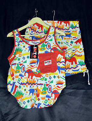 Vintage 1980's INTO Multi Colour Shorts & Matching Top Size 8
