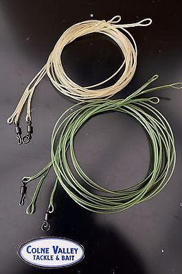 carp fluro safe zone leaders trans brown or green 1m 45lb  sinking cv tackle