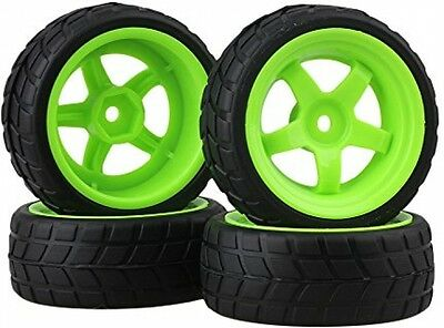 BQLZR Black and Green RC 1: 10 On-road Racing Car Plastic Wheel and Rubber x4
