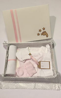 Newborn Baby Girl Gift Hamper 7 Piece Starter Set In Handcrafted Gift Box