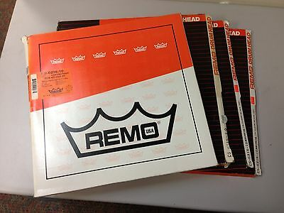 "4 Remo Controlled Sound Clear or White w/ Black Dot Drumheads - 15"" & 16"""