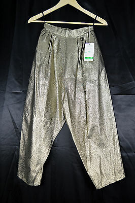 1960's Vintage Monix Gold Metallic Super High Waisted Cropped Trousers - S 4/6