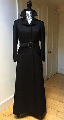 True Vintage 1960s/70s Elgee Of London black maxi formal Wool Coat UK 10-12