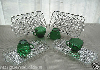 Anchor Hocking Glass 4 Arlington Serva Snack Clear Plate & Forest Green Cup Sets