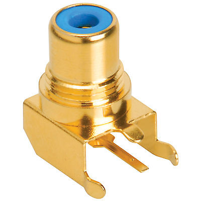 RCA Jack PCB Mount Gold Plated Right Angle Blue