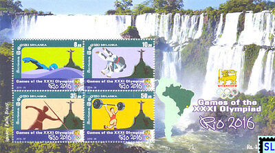 Sri Lanka Stamps 2016, Olympic, Brazil, Christ the Redeemer, Swimming, Judo, MS
