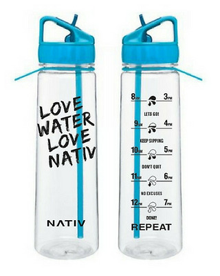 Blue NATIV motivational water bottle with times markings, BPA free