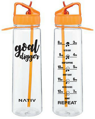 Orange NATIV motivational water bottle with times markings, BPA free