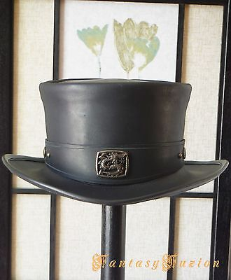 Steampunk Hat Victorian Classy Asian Dragon Leather Top Hat