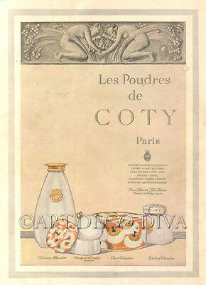 Antique 1922 COTY Face Powder Beauty Makeup Cosmetic BEAUTY Tin Box Bottle Ad