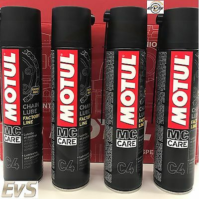 4 x 400 ml Grasso Catena Moto Motul C4 FL Factory Line Chain Lube Road Racing
