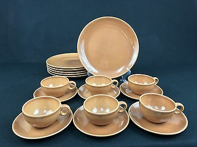 Russel Wright Iroquois Casual China Brown 6 Dinner Plates Cups & Saucers Nutmeg?