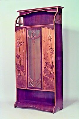 French Art Nouveau Walnut and Inlaid Floral Design 3 Door Armoire Cabinet