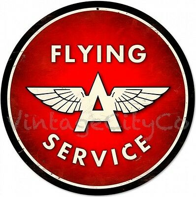"Antique Style "" Flying A Service "" Garage Oil Round Nostalgic Metal Sign"