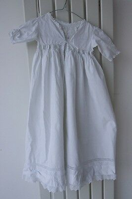 Antique Vintage Lace & Cotton Baby Christening Gown Dress