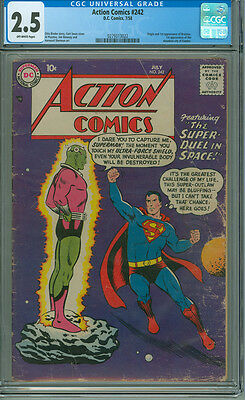 Action Comics 242 CGC 2.5 DC 1958 Origin & 1st Appearance of Brainiac 1st Kandor