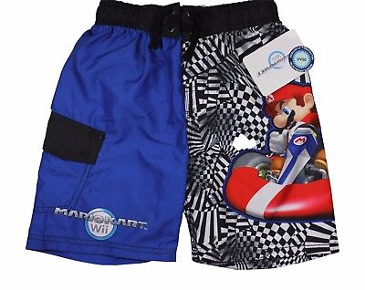 Boys Nintendo WI Mariokart Swim Shorts Trunks Blue UV 50 NWT 6/8/10-12/14-16