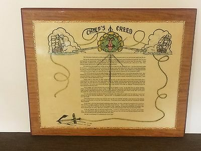 US NAVY Chief's Creed Plaque -  Wood - Handcrafted Studio Art