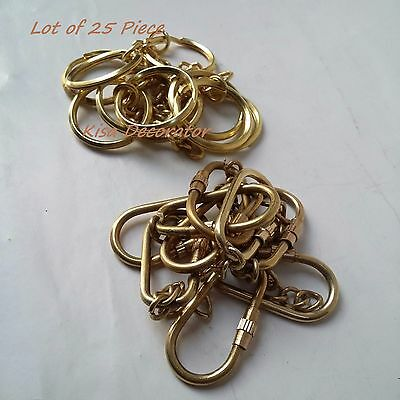 LOT of 25 PCS KEY CHAIN CARABINER Solid Brass Key ring 5 C/m & Brass Key Holder