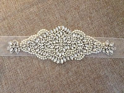 Wedding Dress Sash Belt - Crystal Pearl Sash Belt = SAMPLE SALE!  BIG SALE!!