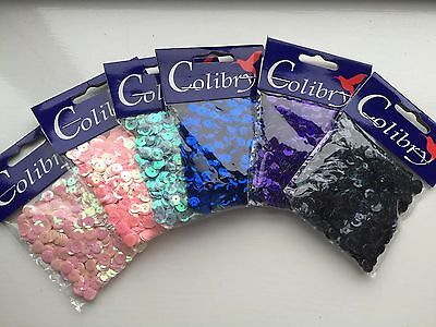 NEW Sequins Facetted Holographic Colibry 6 bags x 10gr each size 6mm
