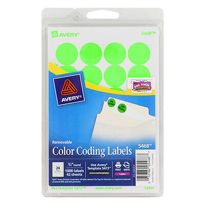 "Avery 05468 COLOR CODING LABELS * 3/4"" Round * 1008 Labels * NEON GREEN"