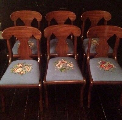 Set of 6 Henkel Harris Saber Leg Cherry Wood Dining Chairs Blue Needlepoint Seat