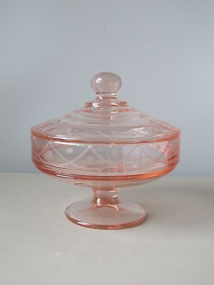 Paden City Marie Pink Footed Candy Dish with Lid, Swag & Dot Design 1916-1951