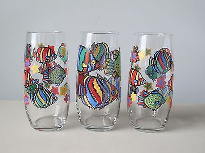 Libbey Fun Fish Design Tropical Flat Tumbler Glasses, Set of (3), LRS75