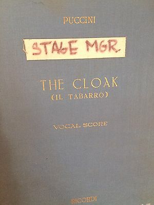 Puccini THE CLOAK Stage Manager Vocal Score New York City  Opera